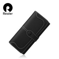 Wholesale Cards Two Folds - Wholesale- REALER 2016 ladies Long Zipper Purse Card Holder Clutch Bag Women Wallets Fashion Pumping Multi-card Position Two Fold Wallet