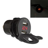Wholesale led voltmeter 12v resale online - 12V LED Dual Car USB Port Charger With DC Voltmeter Digital Socket Cigarette Lighter Splitter Power Adapter Outlet AUP_20Z