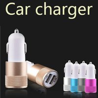 Atacado Best Metal Dual USB Port Car Charger Universal 12 Volt / 1 ~ 2 Amp para Apple iPhone iPad iPod / Samsung Galaxy / Motorola