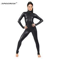 Wholesale Shiny Leotards - Adult Black Long Sleeve Shiny Metallic Unitard Women's Lycra Spandex Plus Size Full Bodysuit Dance Ballet Gymnastics Catsuit