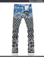 Wholesale Jeans Spray Man - Wholesale-Top Quality Original Design Men's Printing Jeans Stage Wear Personality Spray Painting 3D lattice Printed Slim Motorcycle Jeans