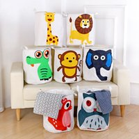 Wholesale Waterproof Storage Baskets - Storage Bags Made Of Mianma Cartoon Animal Laundry Basket Can Be Folded Waterproof Baskets Bin Clothes Organizer Large Storages Bag 13mm D R