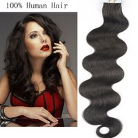Wholesale 24 Inch Tape Hair - Resika 20pcs lot TOP Quality Tape Hair Extensions 16-24 inch 'Tape in Human Hair Extension Body Wave Moulti Color Free Shipping