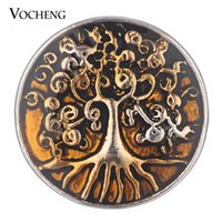 Wholesale Button Paint - VOCHENG NOOSA Ginger Snap Family Tree Button Jewelry Painted Design 4 Colors 18mm Vn-1773