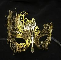 Wholesale Man Masquerade Masks Laser Cut - Black Silver White Gold Diamond Metal Laser Cut Couple Lovers Masquerade Mask Set Men Women Swan Phantom Wedding Party Mask Set
