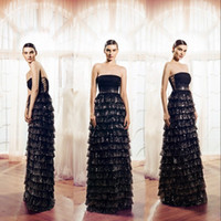 Wholesale Craft Stylish - Stylish Sparkling Black Evening Dress Sexy Strapless Gillter Sequins Beaded Hand- Crafted 17-Layered Tulle Evening Gowns Celebrity Prom Dres