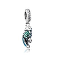 Wholesale Parrot Necklace Charms - Authentic 925 Silver Beads Tropical Parrot Dangle Charm Mixed EnamelsTeal&Clear CZ Fits European Pandora Style Jewelry Bracelets & Necklace
