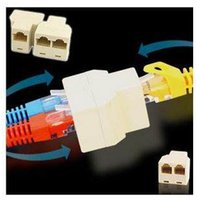 cable conector hembra rj45 al por mayor-Divisor de cable de red RJ45 8P8C beige 1 hembra a 2 acopladores de conector hembra F / F Ethernet Adaptador de enchufe de cable modular CAT5