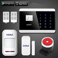 Wholesale Gsm Pstn Burglar Alarm - LS111- KERUI IOS Android APP Touch Keypad&TFT display 99 Wireless Zone GSM PSTN SMS Home PIR Voice Burglar Alarm Security System
