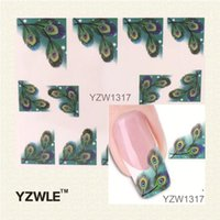 Wholesale Nail Art Stickers Japanese - Wholesale-YZWLE Japanese Style Watermark Nail Art Sticker 3D Design Cute Green Feather, Water Transfer Nail Decal Manicure Tools