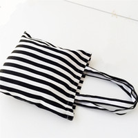 Wholesale Ecological Cotton - Black and white striped cotton canvas ecological canvas bag blank tote bag shopping bag double-deck cotton shopping bag