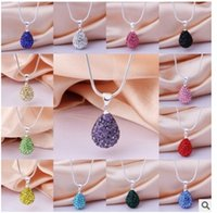 Wholesale Water Beads Wholesale Price - Lowest Price!30% Silve Water Drop Crystal Shamballa Necklace Silver plated Jewelry Rhinestone Disco Crystal Bead Necklace women jewelry Gift