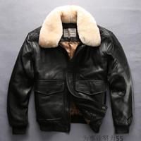 Wholesale Lambs Skin Leather - Black AVIREX FLY men genuine leather jackets Lamb skin fur collar flight jackets