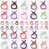 Wholesale Rabbit Ear Pony Tail - Vintage Women Cute Bow Rabbit Bunny Ear Ribbon Hair Band Wire Headband Wrap Gift - Randomly Send