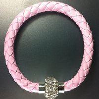 Wholesale Neon Wristbands Wholesale - Wholesale- fashion popular neon color PU Wristband Cuff Punk Magnetic Rhinestone Buckle Bracelet Bangle