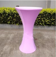 Wholesale Stretch Table Covers Wholesale - 2018 Poseur Table Covered Roll Cocktail Table Cover Size 60*110CM Stretch Satin Wedding Chairs Cover For Western Wedding Prom Party