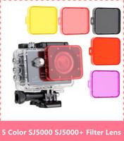 Wholesale Camera Filter Sets - Wholesale- 5pcs set SJCAM SJ5000 Filter Lens For SJ5000+ Plus Action Camera Accessories Diving Protective SJ5000WIFI UV Circle Mirror Cover