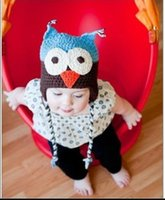 Wholesale Cartoon Crochet Infant Animal Hat - Cute Cartoon Infant Toddler Handmade Knitted Crochet Baby Owl Hat with Ear Flap Baby Soft Bonnet Photography Props Animal Caps A298-2