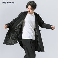 Wholesale Han Tang - Wholesale- MRDONOO Men's autumn winter Tang suit long sleeve young man overcoat middle-long loose large retro Chinese style Han windbreaker