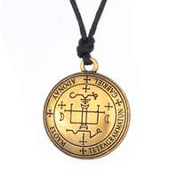 Wholesale Tibetan Steel Necklace - Gold Stainless Steel Archangel Michael & Gabriel Enochian Talisman Amulet Angel Jewelry Tibetan Necklace Wax Cord Necklaces