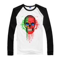 t-shirt individuell gestalten großhandel-Portugal Schädel Zum Kern 2017 Neue Jugend Baumwolle Baseball Sport Herren T Shirts Gruppe Anpassung