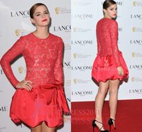 Wholesale Emma Brown - Emma Watson Red Lace Cocktail Prom Dresses Red Carpet Dress 2016 Ball Gown Jewel Illusion Bodice Long Sleeves Short Mini Party Formal Gowns