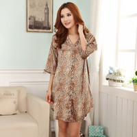 Wholesale Lingerie Leopard Robe - Wholesale- Summer Sexy Leopard Women's Faux Silk Robe Nightgown Rayon Sleepwear Short Mini Intimate Lingerie Mujer Pijamas One Size WR225