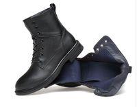 cargadores negros de la manera masculina al por mayor-Estilo de moda Negro de los hombres Ropa Casual Botas con cordones Zapatos masculinos Sólido Invierno Cómodo Desgaste Fresco Primavera Otoño Zapatos 2DN7