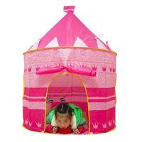 açık havada çadır çocukları toptan satış-Toptan-Taşınabilir Pembe Mavi Çocuk Çocuk Oyun Çadırları Açık Bahçe Katlanır Oyuncak Çadır Pop Up Girl Princess Castle Outdoor House Çocuk Çadır