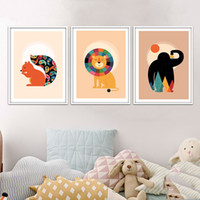 Digital printing squirrel cartoon pictures - Nordic Art Kawaii Animal Lion Squirrel Chimpanzee Minimalism Poster Painting Cartoon Nursery Wall Picture Print Baby Kids Room Decoration
