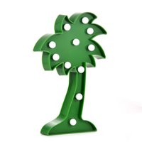 Wholesale 3d Sign Letters - 3D 11leds Coconut Tree Night Lamp LED Marquee Letter Sign Night Light for Home Decoration Birthday Gift for Kids