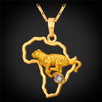 Wholesale Gold Leopard Pendant - U7 African Map Leopard Antelope Pendant Necklace Cubic Zirconia Gold Plated Fashion Unisex Africa Jewelry Perfect Party Gifts Accessories