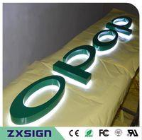 paslanmaz çelik çıkışlar toptan satış-Fabrika Outlet Paslanmaz çelik led aydınlatmalı metal harfler, fırçalanmış / ayna cilalı / boyalı paslanmaz çelik arka ışıklı LED harfler dükkanı sgns