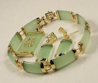 Wholesale Light Green Jade Jewelry - set of light green jade Pendant Necklace Bracelet Earring 18KGP jewelry