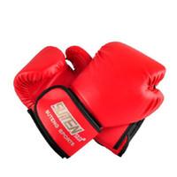 mma eğitim eldivenleri toptan satış-Toptan PU Deri Spor Eğitim Ekipmanları Boks Eldivenleri Kick Boks MMA Eğitim Mücadele Kum Torbası Eldiven Sanda Eldivenler Ücretsiz Kargo