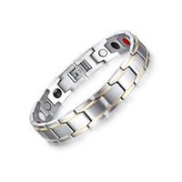 Wholesale Trend For Chain Jewelry - Fashion Jewelry Healing Matt Finish Magnetic Titanium Bio Energy Bracelet For Men Trends Fashion Accessory Silver Bracelets B863S