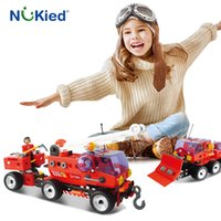 Wholesale Toy Fire Truck Models - NUKied 152PCS Fire Truck Blocks Children Educational Assembled Model Helicopter Building Blocks Toy Boy Kid Best Gift Brinquedos