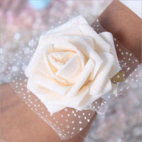 Wholesale Cheap Wall Mounts - Real Image Cheap Pink Bride Bridesmaid Wrist Flowers Cheap Wedding Supplies Ribbon Flower for Wedding Accessories