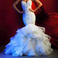 Wholesale Gold Luxury Mermaid Dresses - Romance Luxury Robe De Mariee 2016 Mermaid Wedding Dresses Beaded Crystal Sheer Bride Dress Wedding Gowns Vestido De Noiva Boda