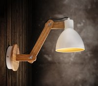 UK led arm sconce - Wholesale-Wood Modern LED Wall Lamp Light With Arm Beside Lamp Wall Sconce, Arandelas Lamparas De Pared