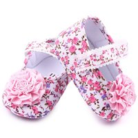 Wholesale Zapatos Flower Girl - Wholesale- Summer Zapatos Baby Girls Infant Cotton Flower Soft Sole Kids Walking First Walker QF