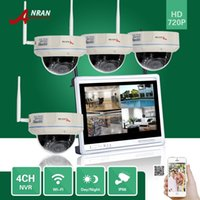 Wholesale Ip Dome Camera System - ANRAN CCTV 4CH P2P 720P Wireless NVR 12 Inch LCD Monitor 30 IR Vandal-Proof Dome 1.0MP WIFI IP Camera Surveillance Security System