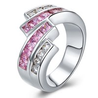 Wholesale Party Wow - Wow!! Big Sale For New Store Hot Selling 18K Golden Platinum Plated Micro Inlay Cubic Zirconia Wedding Rings EFR198