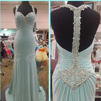 Wholesale Teal Sweetheart Mermaid Dress - Unique Blue Teal Long Prom Dresses Sweetheart Spaghetti Straps Beaded Backless Mermaid Evening Dress Party Gowns Robe de Soriee