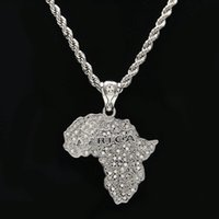 Wholesale Crystal Map - New Arrival Silver Plated Fashion Punk Hip Hop Africa Map Pendant Necklace with Rope 6mm Rope Chain For Men Women