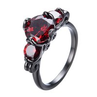 Wholesale Natural Ruby Gold Ring 18k - JUNXIN Red Female Black Gold Filled Ring 2017 New Summer Fashion Natural Stone Engagement Wedding Rings For Women RB0312