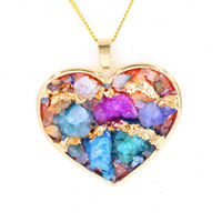 Wholesale Crystal Pendant Heart Shape - Heart-shape Mix Colors Crystal Stone Pendants Pendulum Necklace Chain Geometric Gold Plated Charms Fashion Jewelry For Women