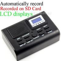 61d0e524c79 Atacado-Mini Telefone Gravador de Voz Digital Telefone Logger   Telefone  Voice Monitor Azul display LCD Com função de relógio