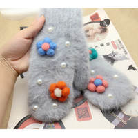 Wholesale Wholesale Wool Gloves For Women - Wholesale- Women winter gloves Soft Wool rabbit hair Cashmere Flower Fashion Gloves Lovely Warm Pearl Gloves Christmas Gift For Girl