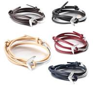 Wholesale Nautical Friendship Bracelet - NEW Fashion Multilayer Gold Silver Color Nautical Pulsera Ancla Men PU Leather Anchor Bracelet for Women Friendship Bracelet AA165